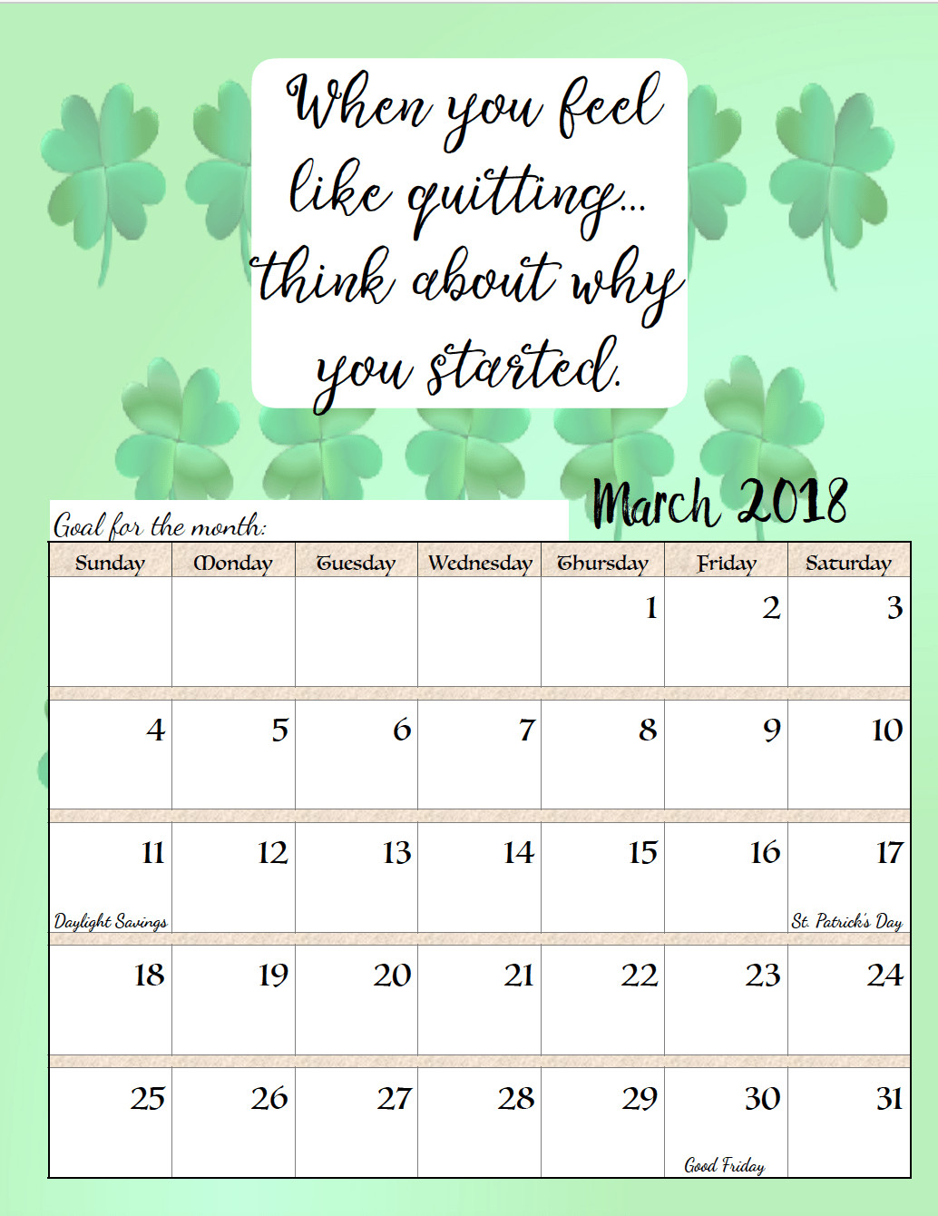 Inspirational Quote Calendar  Free Printable 2018 Monthly Motivational Calendars