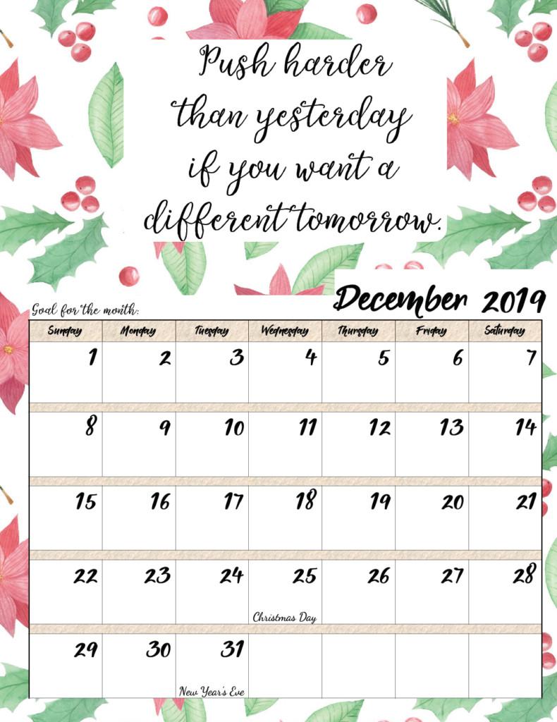 Inspirational Quote Calendar  Free Printable 2019 Monthly Motivational Calendars