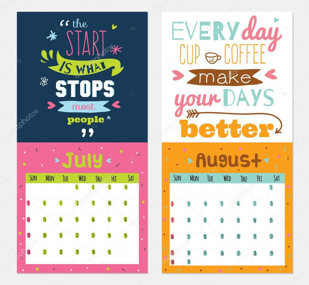 Inspirational Quote Calendar  New Year wall calendar for 2015 with inspirational and