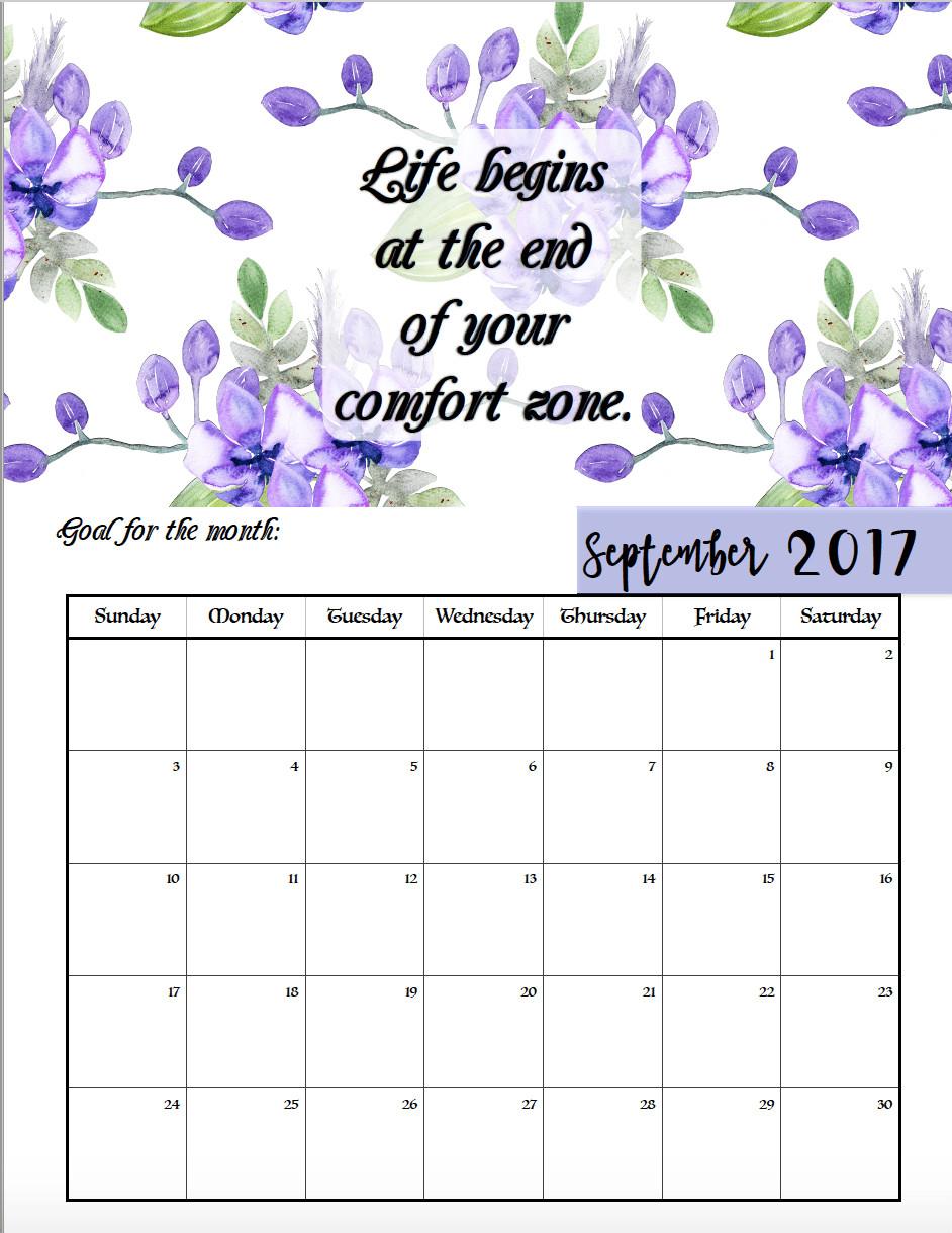 Inspirational Quote Calendar  FREE Printable 2017 Motivational Monthly Calendar