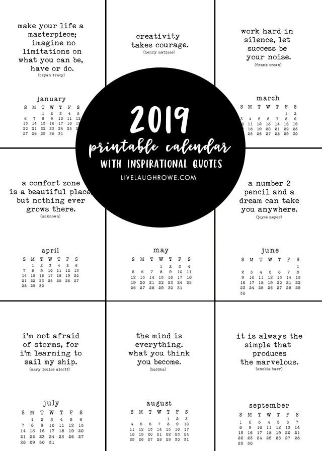 Inspirational Quote Calendar  Free Printable Calendar with Inspirational Quotes that are