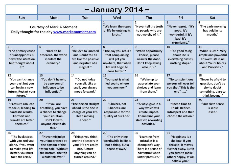 Inspirational Quote Calendar  Monthly Calendar Quotes QuotesGram