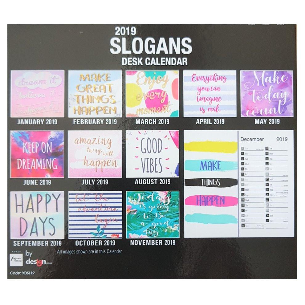 Inspirational Quote Calendar  2019 Slogans Desk Calendar Positive Quotes Quotations