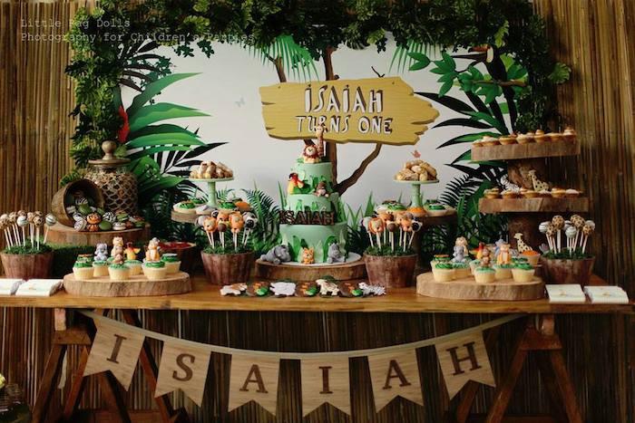 Jungle Theme Birthday Party  Kara s Party Ideas Jungle Themed Birthday Party