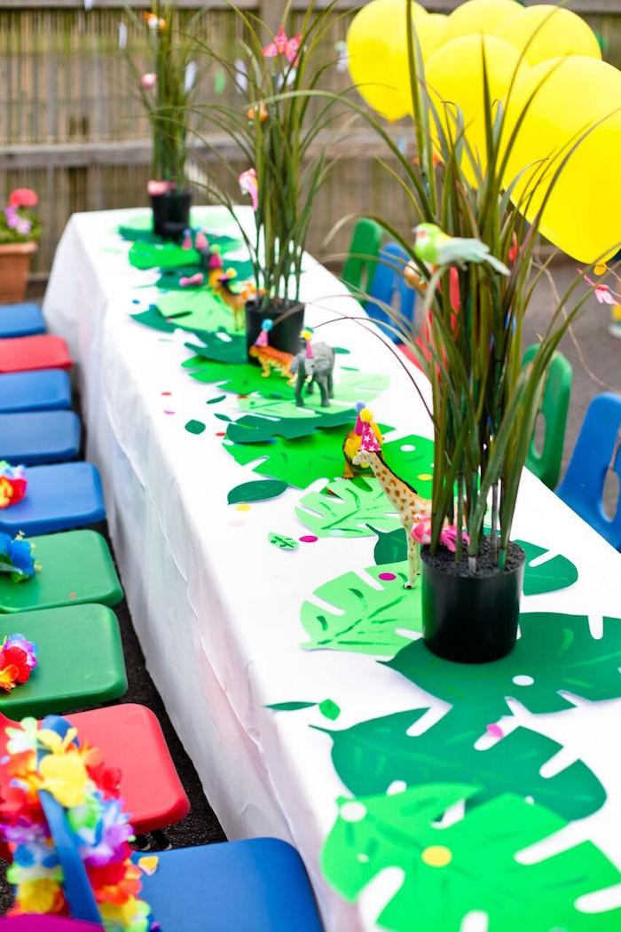 Jungle Theme Birthday Party  Kara s Party Ideas Tropical Rainforest Jungle Animal