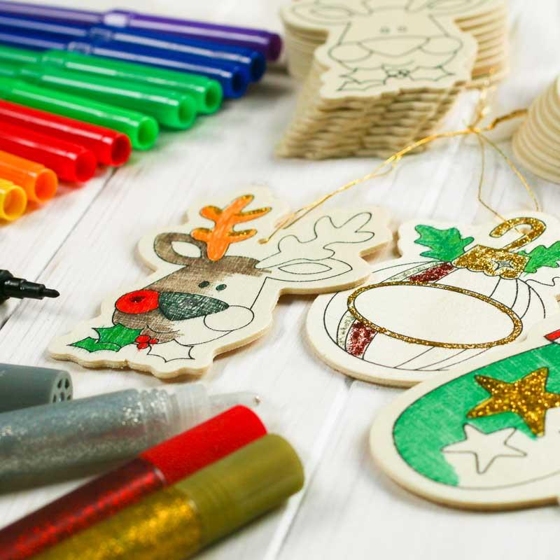 Kids Crafting Supplies  Holiday Wood Cutout Ornaments Kid s Group Activity Kit