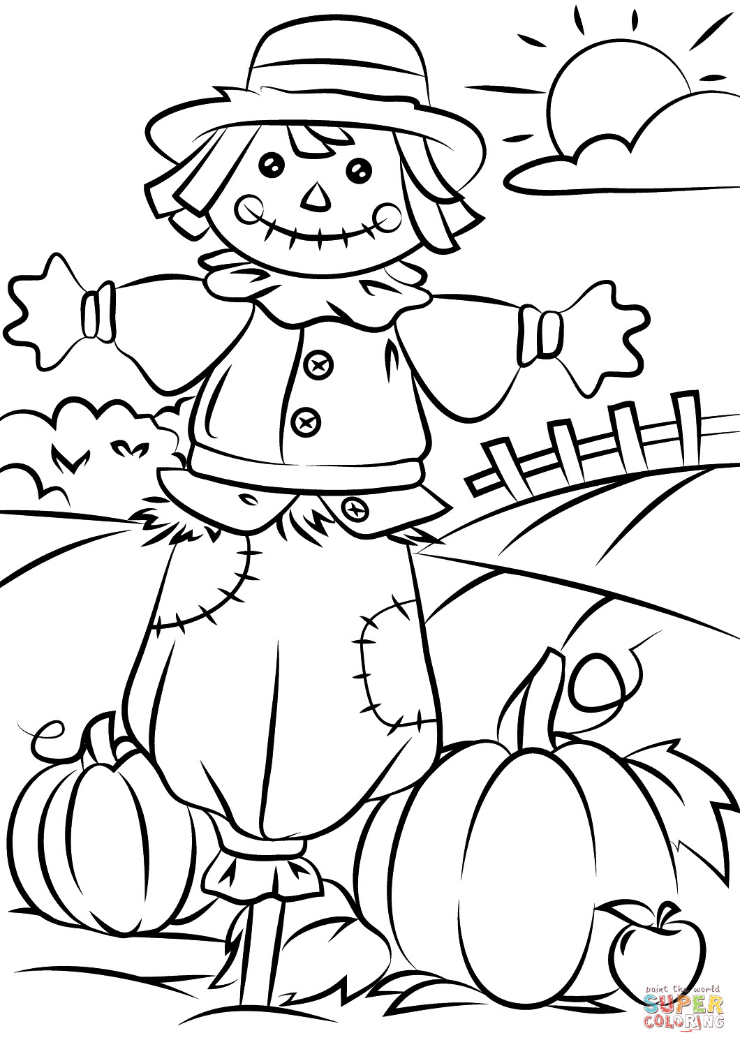 Kids Fall Coloring Pages  Autumn Scene with Scarecrow coloring page
