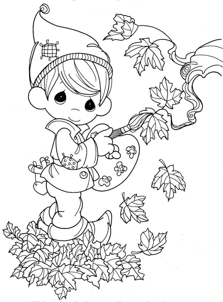 Kids Fall Coloring Pages  Precious Elf Coloring Fall