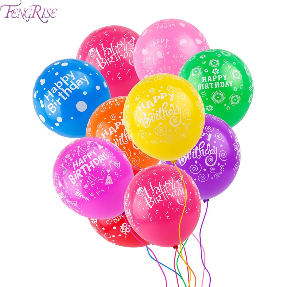 Kids First Birthday Party  FENGRISE 10pcs Multicolor Latex Air Balloons Decor Kids