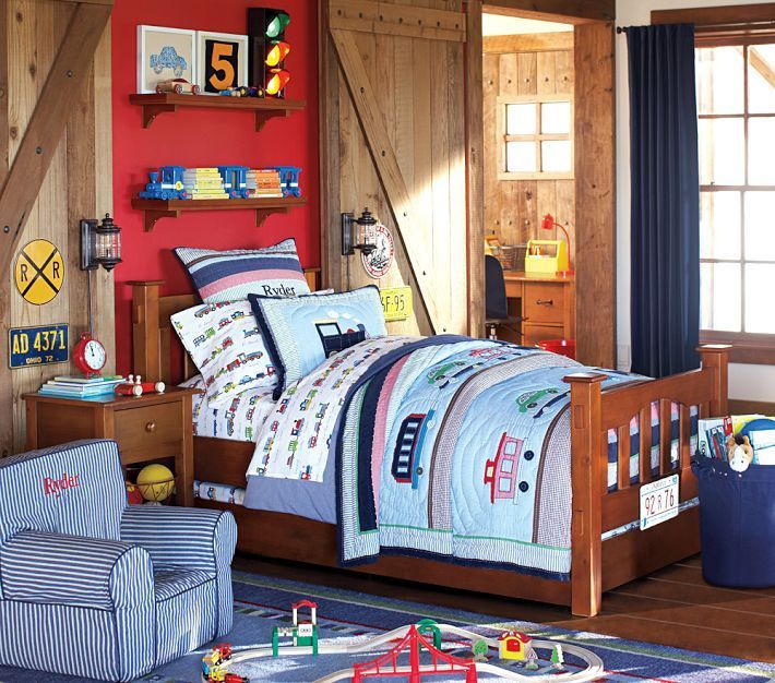 Kids Train Decor  Ryder Train Bedding and sheets from Pottery Barn Kids