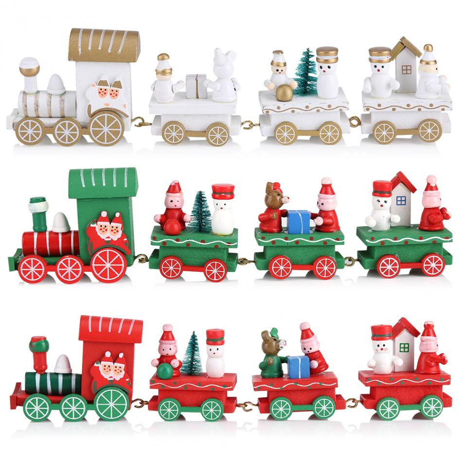 Kids Train Decor  Home New Year Christmas Wooden Train Decor Kids Toy