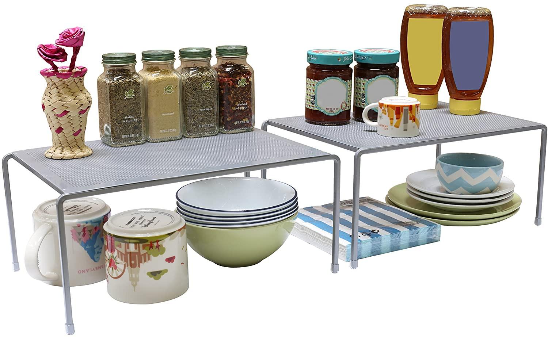 Kitchen Cabinet Shelves Organizer  Counter Shelf Organizer Kitchen Storage Expandable