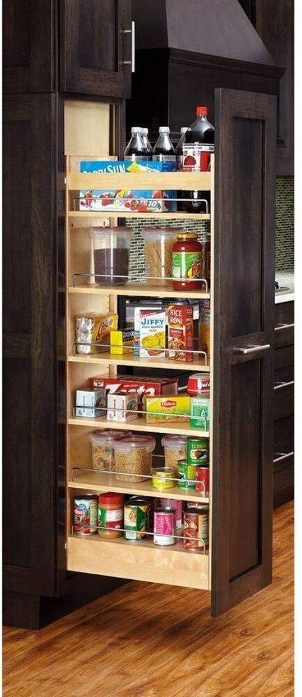 Kitchen Cabinet Shelves Organizer  Kitchen Wood Pull Out Tall Cabinet Pantry Storage