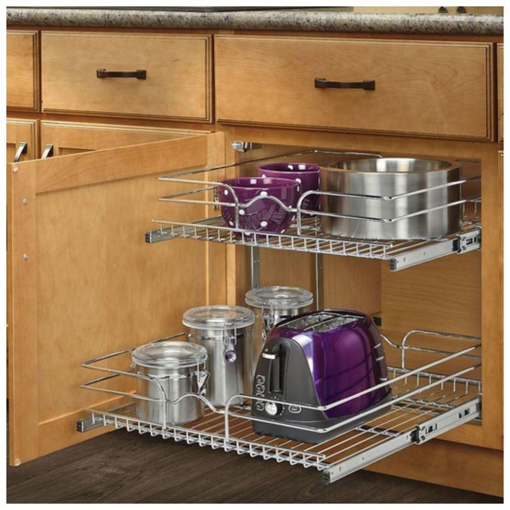 Kitchen Cabinet Shelves Organizer  Pull Out Sliding Metal Kitchen Pot Cabinet Storage