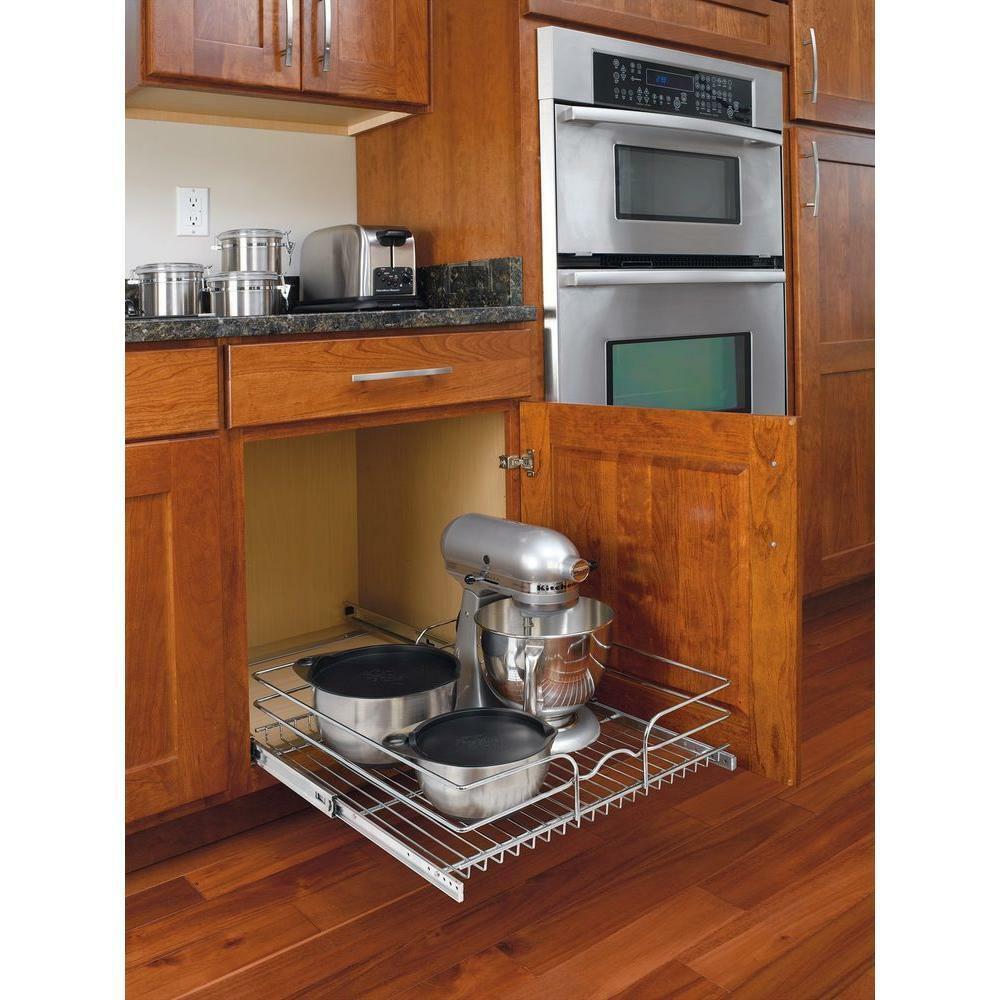 Kitchen Cabinet Shelves Organizer  Pull Out Wire Basket Base Cabinet Chrome Kitchen Storage