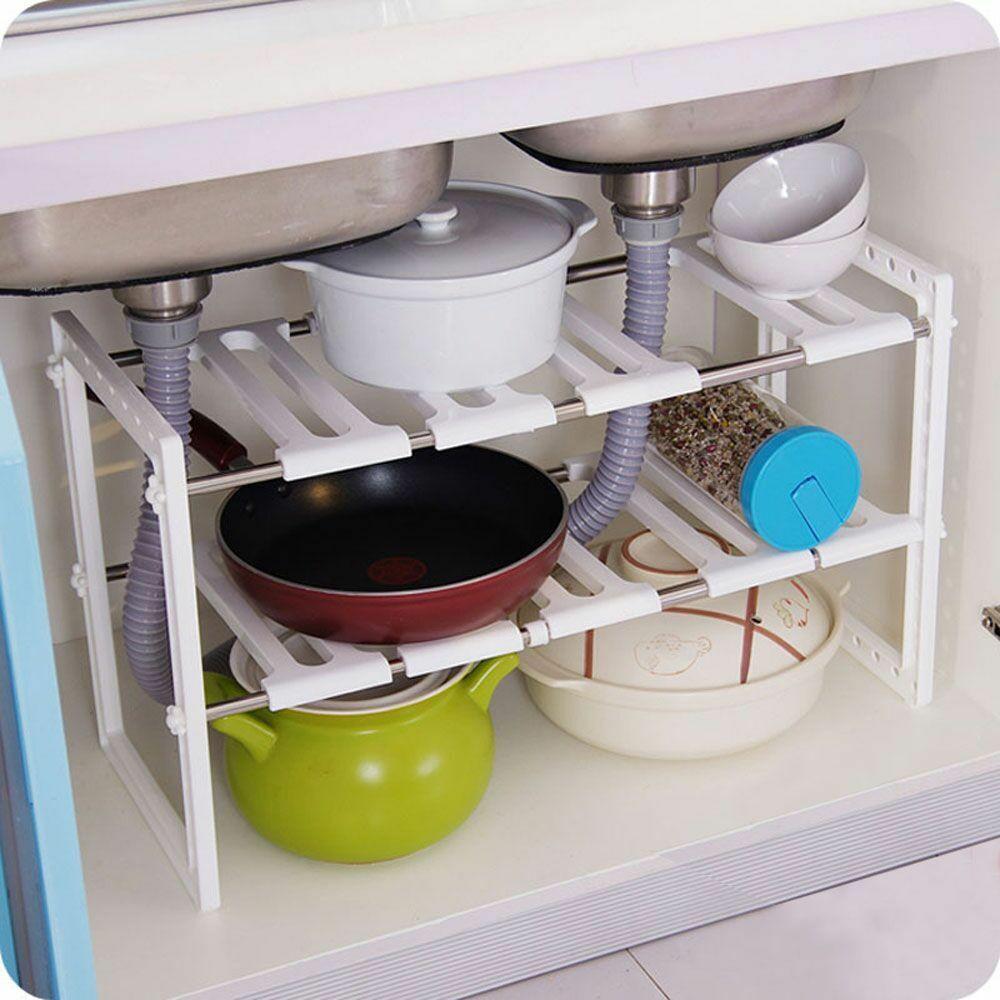 Kitchen Cabinet Shelves Organizer  Under Sink 2 Tier Expandable Adjustable Kitchen Cabinet