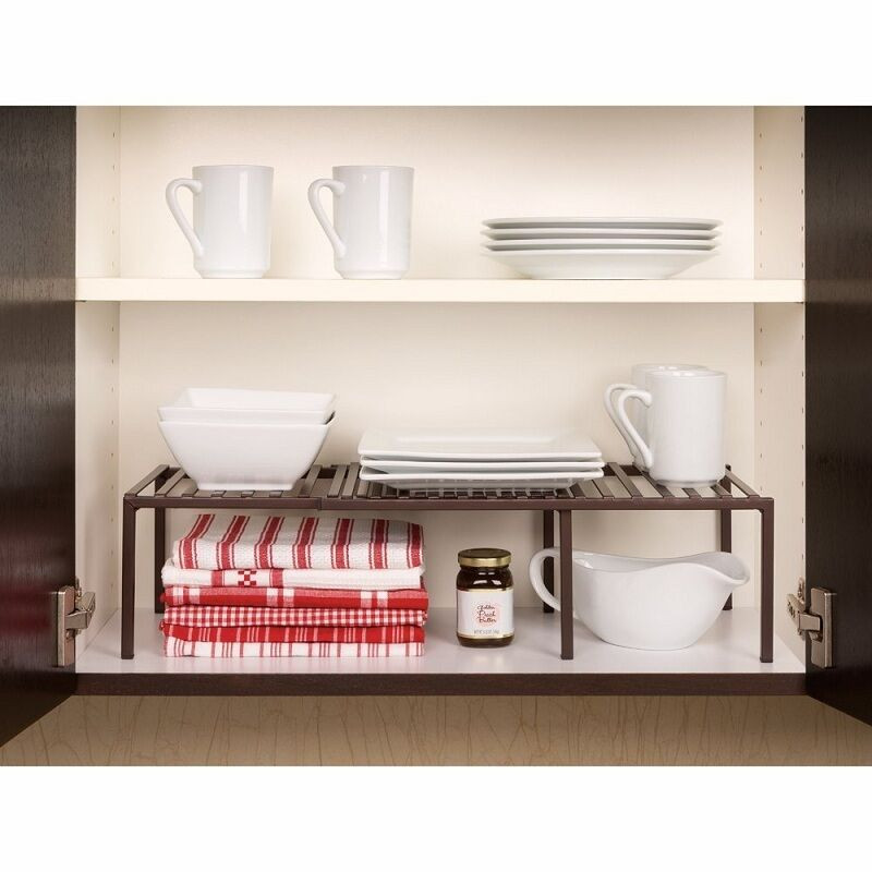 Kitchen Cabinet Shelves Organizer  Expandable Shelf Rack Cabinet Organizer Storage Kitchen