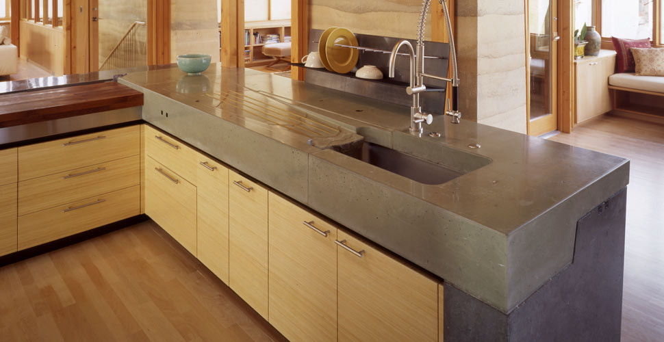 Kitchen Concrete Countertop  The Most Popular Materials for Kitchen Countertops
