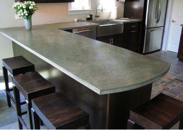 Kitchen Concrete Countertop  39 Minimalist Concrete Kitchen Countertop Ideas
