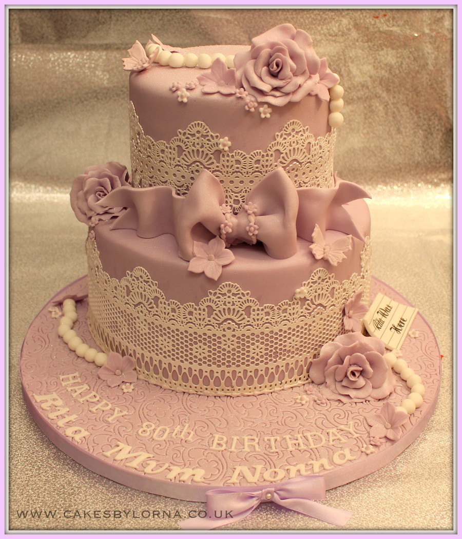 Ladies Birthday Cakes  La s 80Th Two Tier Vintage Inspired Lace Birthday Cake