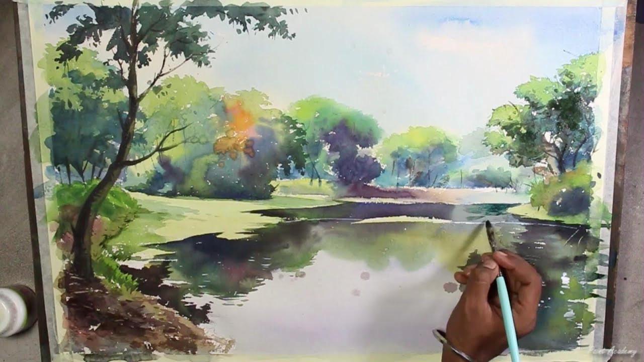 Landscape Painting Images  Watercolor Landscape Painting Speed Art Video