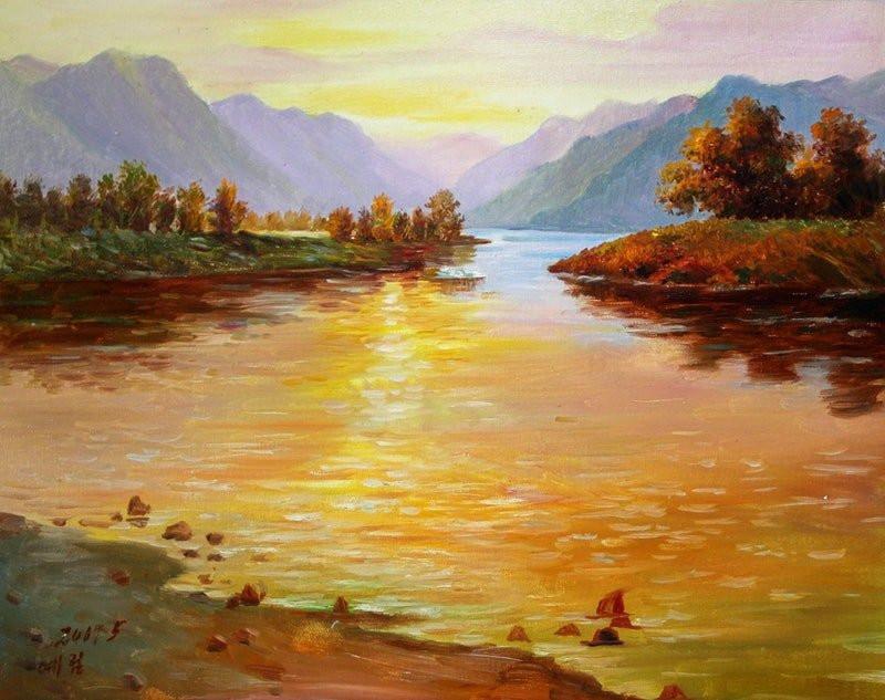 Landscape Painting Images  Landscape OIL PAINTING HAND PAINTED CANVAS 50CM X39CM