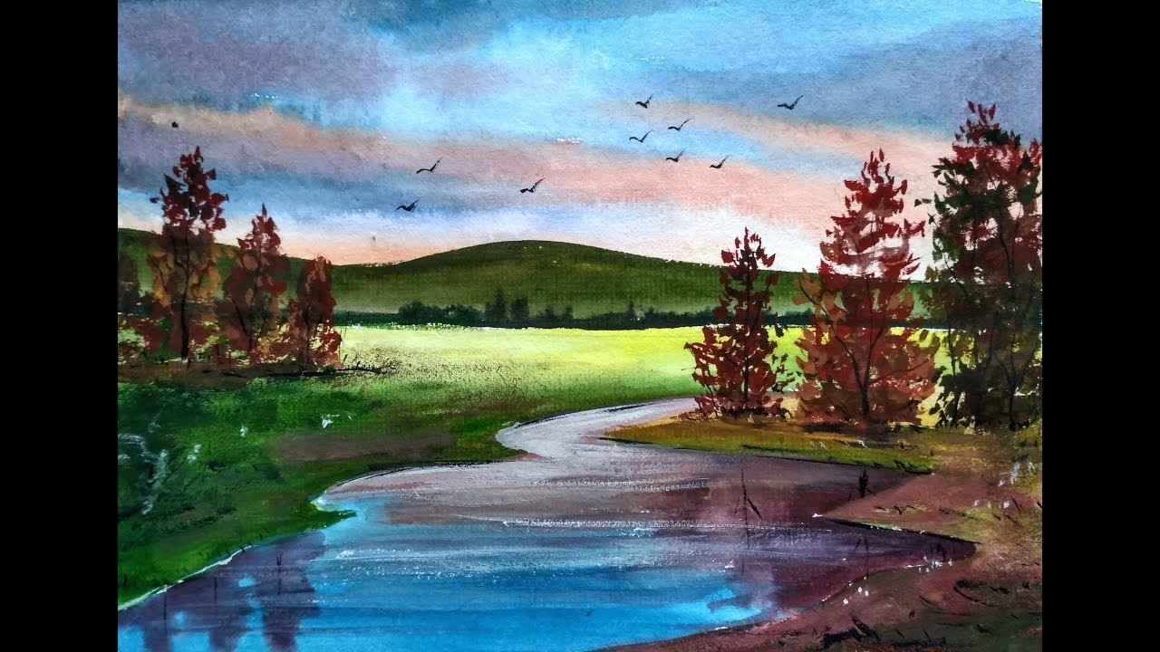Landscape Painting Images  Painting Beautiful Watercolor Landscapes with Ghanashyam