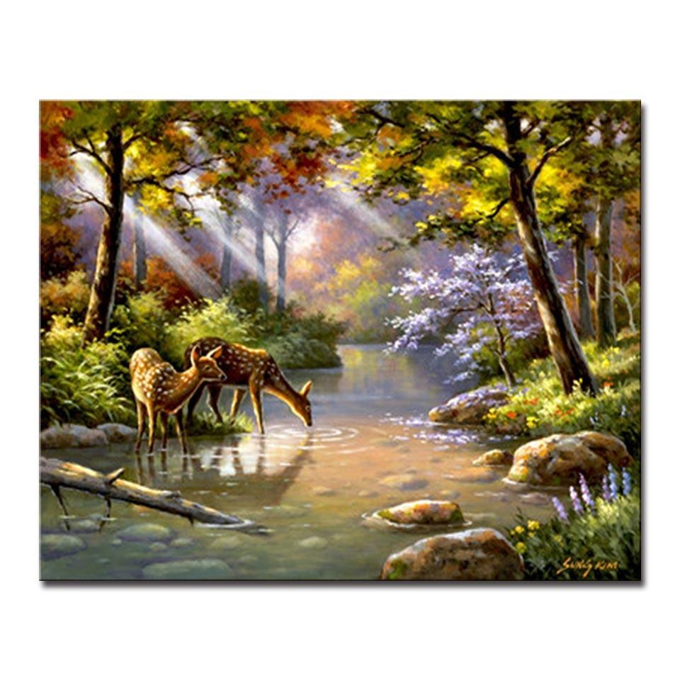 Landscape Painting Images  DIY Oil Painting Digital By Numbers Frame Poster Deer