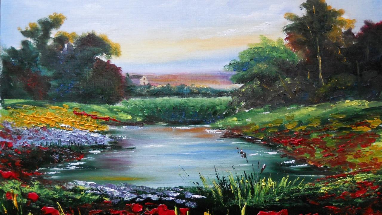 "Landscape Painting Images  How to paint Landscape in oil ""Landscape with a Little"