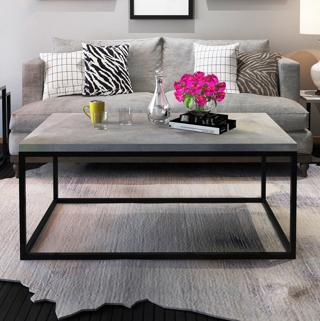 Living Room Tables Walmart  Gymax Modern Rectangular Cocktail Coffee Table Metal Frame