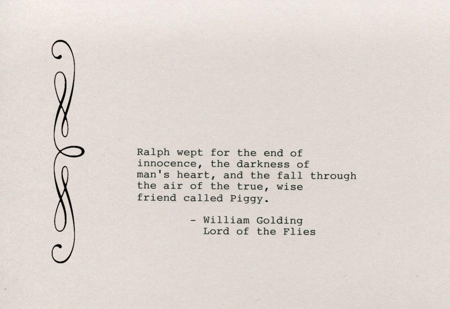 Lord Of The Flies Ralph Leadership Quotes  William Golding Quote Made on Typewriter Art Quote Wall