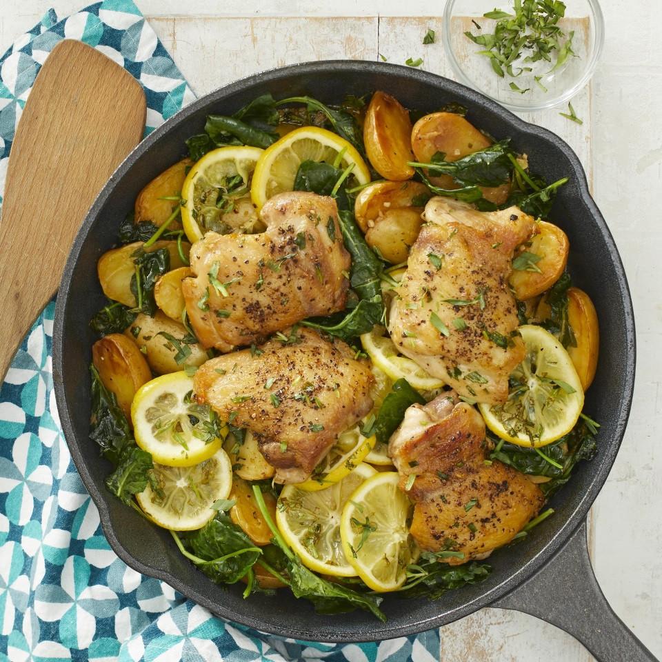 Low Cholesterol Chicken Recipes  Skillet Lemon Chicken & Potatoes with Kale Recipe