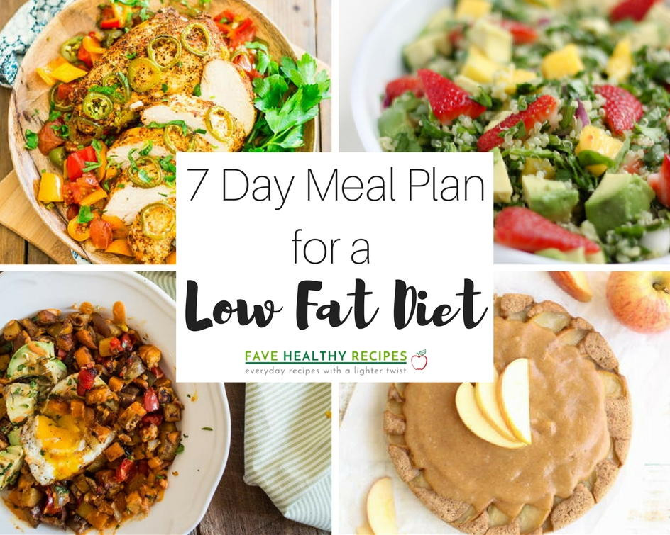 Low Fat Low Cholesterol Recipes  7 Day Meal Plan for a Low Fat Diet