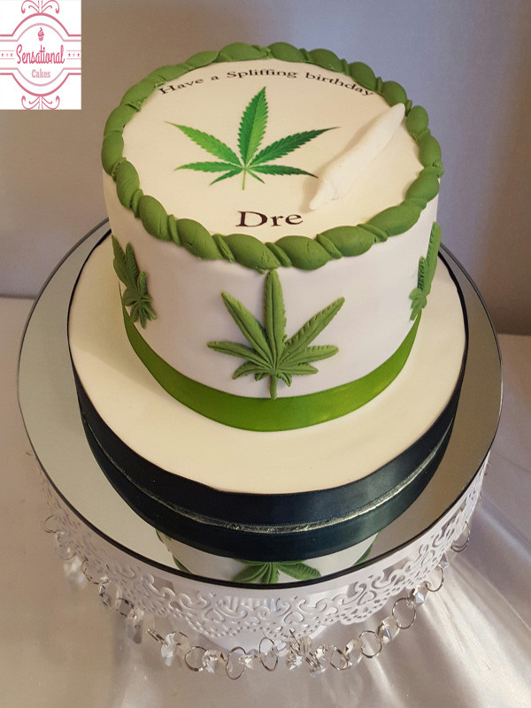 Marijuana Birthday Cake  cannabis leaf cake Sensational Cakes