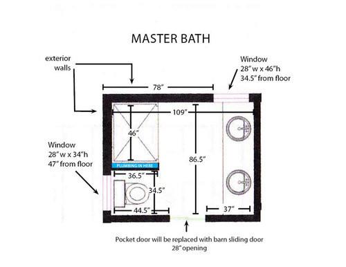 Master Bathroom Size  Help with 9 x 7 master bath shower size