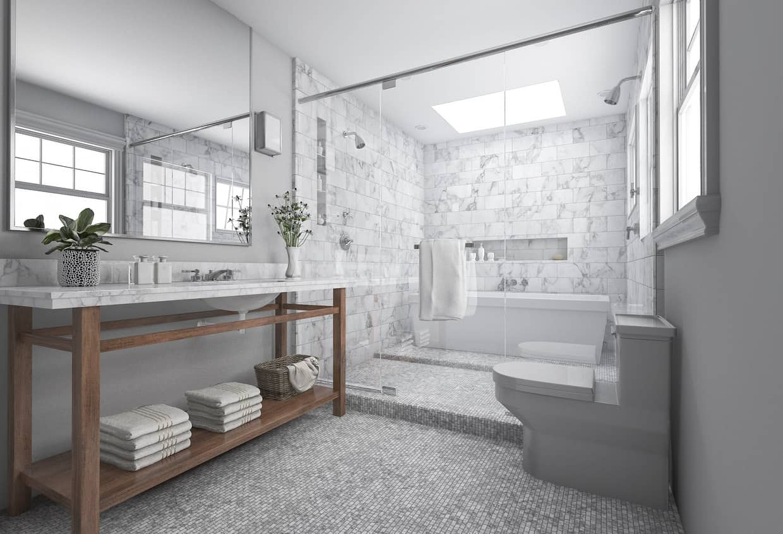 Master Bathroom Size  34 Gorgeous Gray Primary Bathroom Ideas