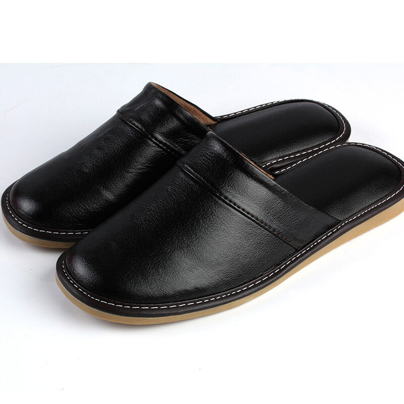 Mens Bedroom Shoes  Cozy Adult Black Synthetic Leather Soft House Bedroom