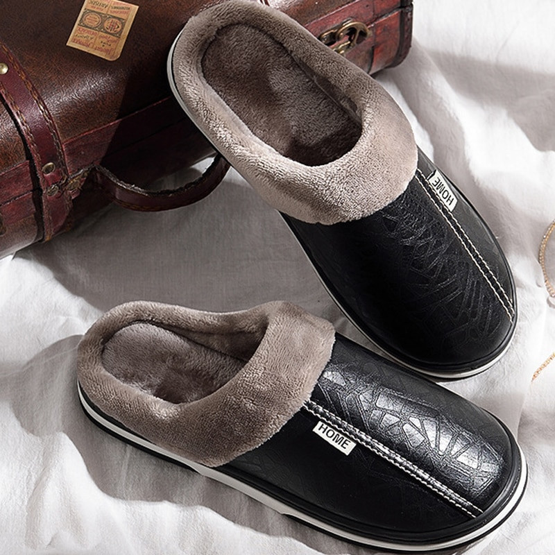 Mens Bedroom Shoes  House slippers for men Fashion Sewing Winter slipper Plus