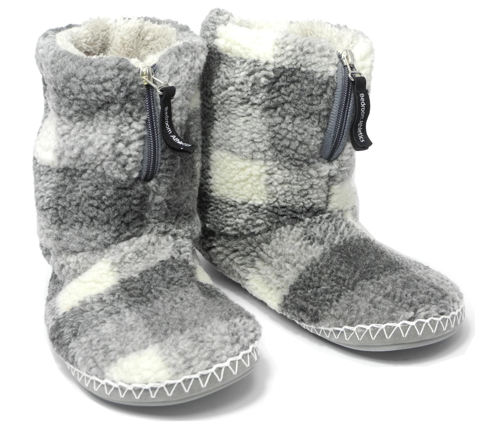 Mens Bedroom Shoes  Mens Bedroom Athletics Sherpa Fleece Warm Fur Zipped Boots