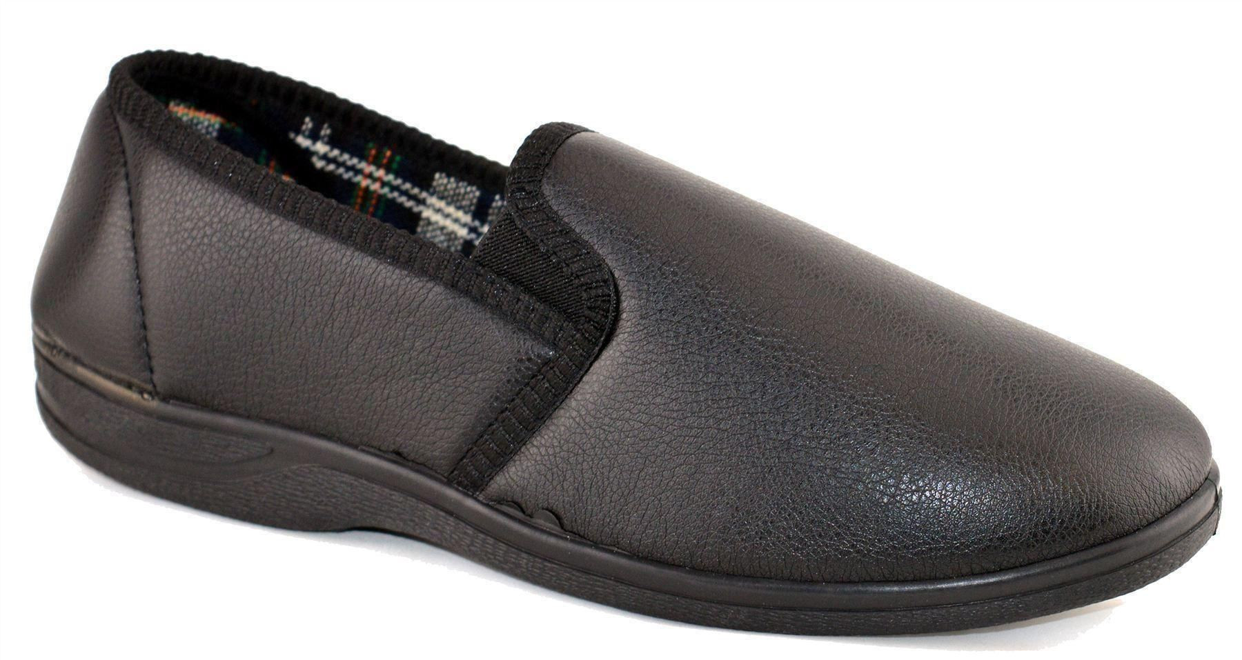 Mens Bedroom Shoes  Mens Faux Leather Cushioned Slip Rubber Sole Bedroom