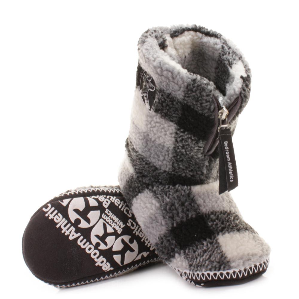Mens Bedroom Shoes  Mens Slipper Boots Bedroom Athletics Mcqueen Fleece Grey
