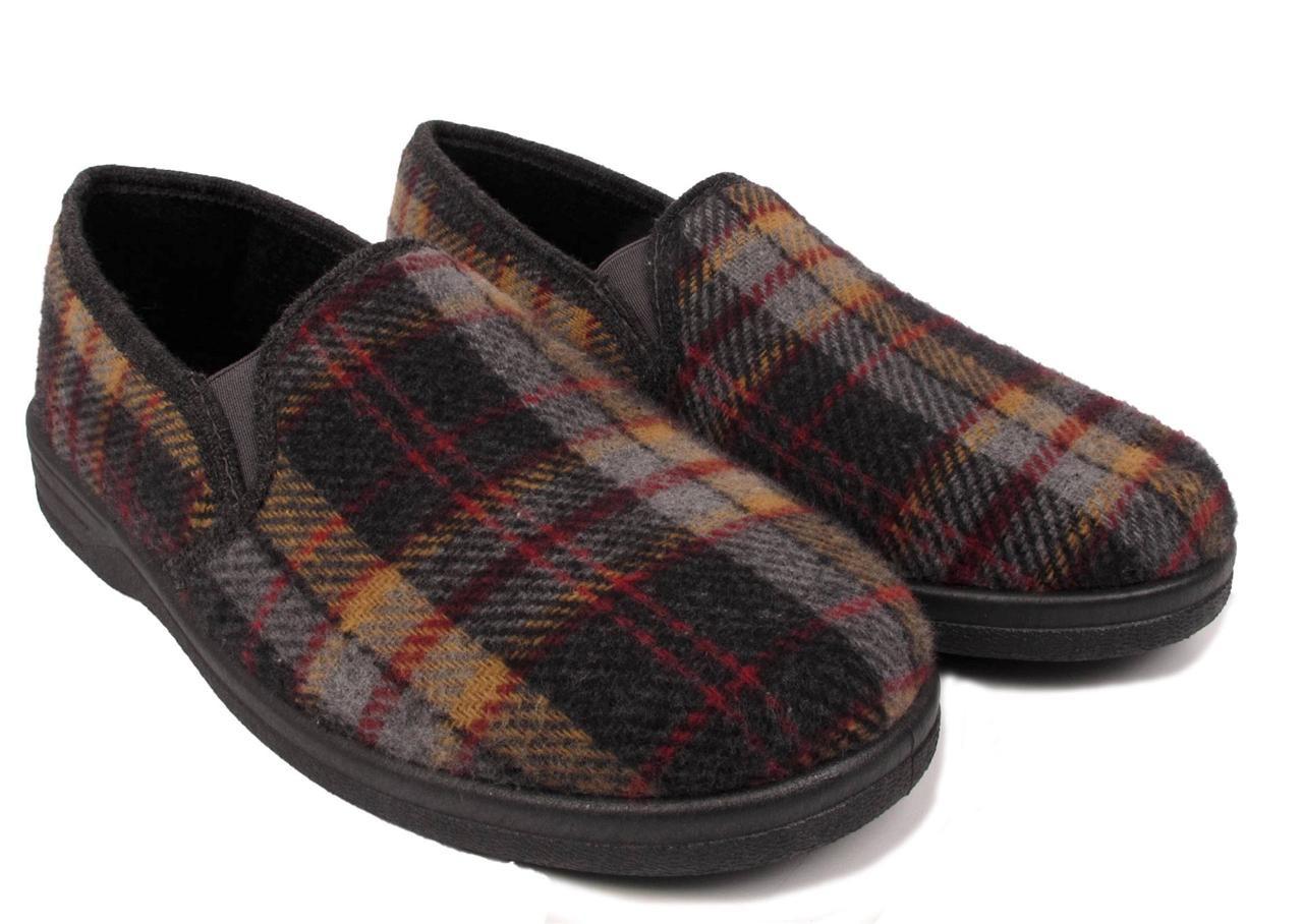 Mens Bedroom Shoes  MENS TARTAN SLIPPERS SLIP ON CASUAL INDOOR HOUSE BEDROOM
