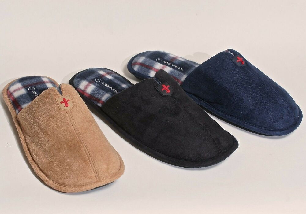 Mens Bedroom Shoes  New Men s Faux Leather w Soft Plaid Inner Bedroom House