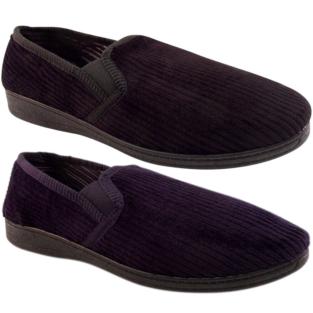 Mens Bedroom Shoes  NEW MENS CORD CORDUROY HARD SOLE SLIPPERS BEDROOM OUTDOOR