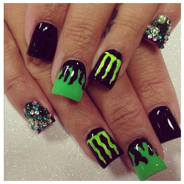 Monster Nail Designs  Monster drink nails nailart acrylicnails glitternails