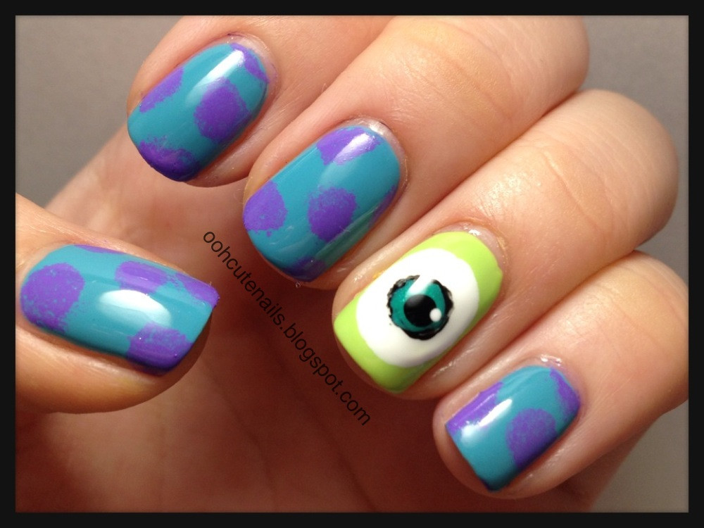 Monster Nail Designs  Ooh Cute Nails Monsters University Inspired Nails