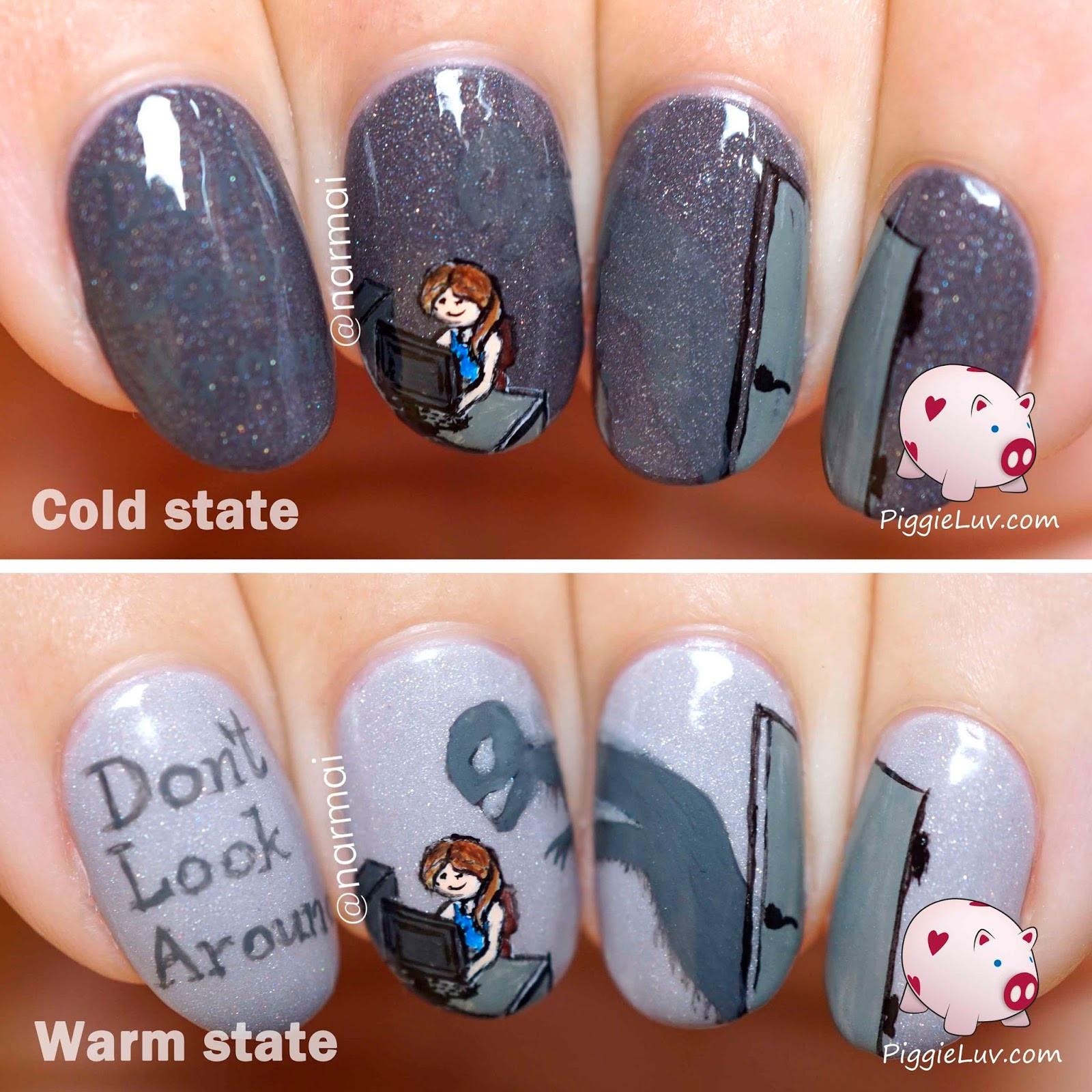 Monster Nail Designs  PiggieLuv Hidden monster nail art for Halloween