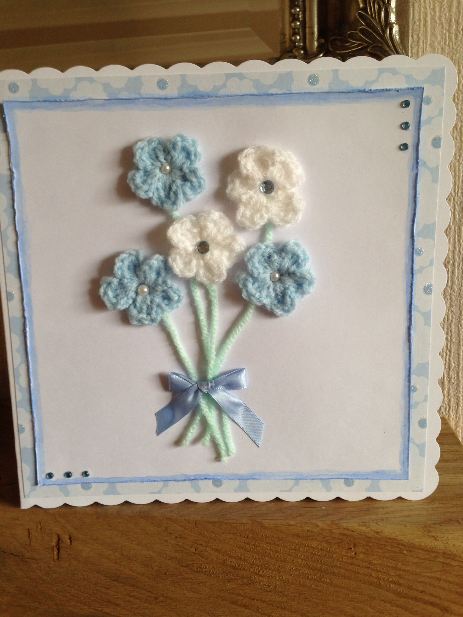 Mother'S Day Crochet Gift Ideas  Handmade crocheted flowers Mother s Day card for my mam