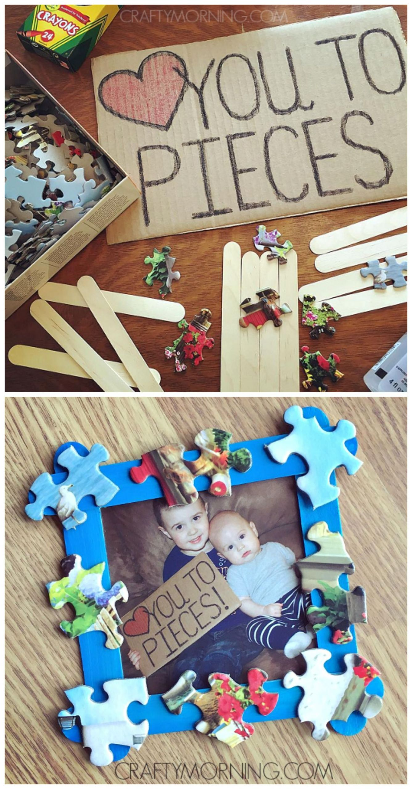 Mother'S Day Gift Ideas For Toddlers To Make  Love You to Pieces Father s Day Frame Gift
