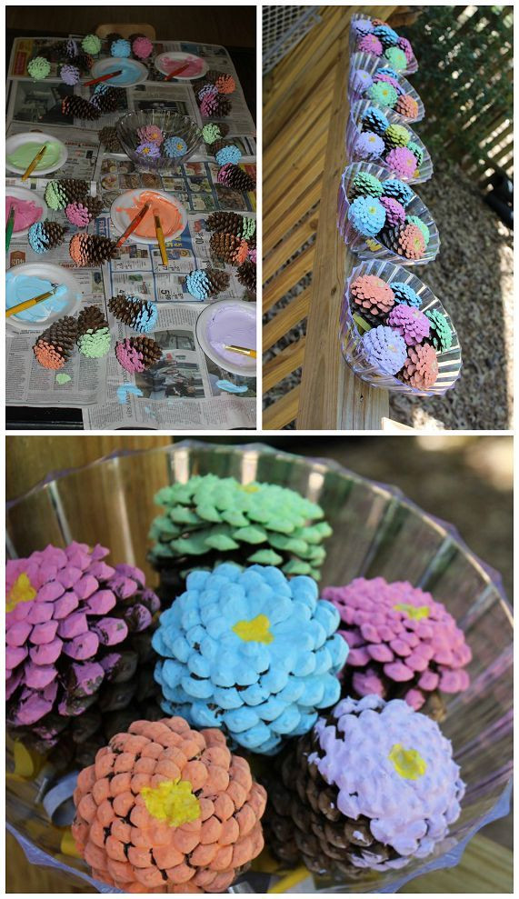 Mother'S Day Gift Ideas For Toddlers To Make  Pinecone Flower Bouquets Kids Craft